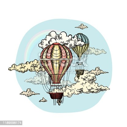 Two air balloons in the sky with clouds, round composition, retro style, hand drawn vector illustration