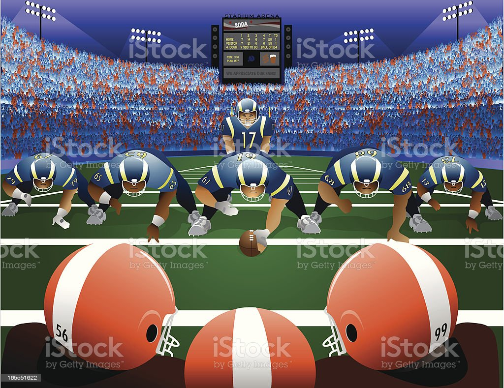 Two American Football Teams on Field with Stadium royalty-free stock vector art