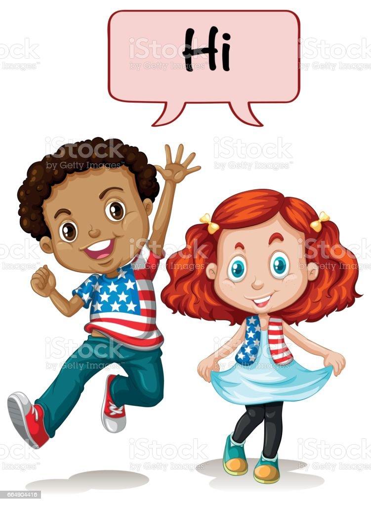 Two american kids saying hi two american kids saying hi - immagini vettoriali stock e altre immagini di abbigliamento royalty-free