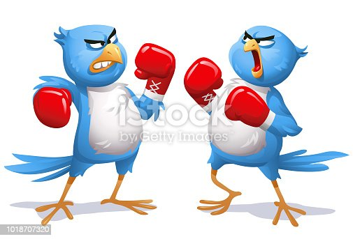 Vector illustration of two angry blue birds fighting with boxing gloves, screaming at each other. Concept for outrage on social media, bullying, heated discussions on the internet, online harassment and hashtag movements.