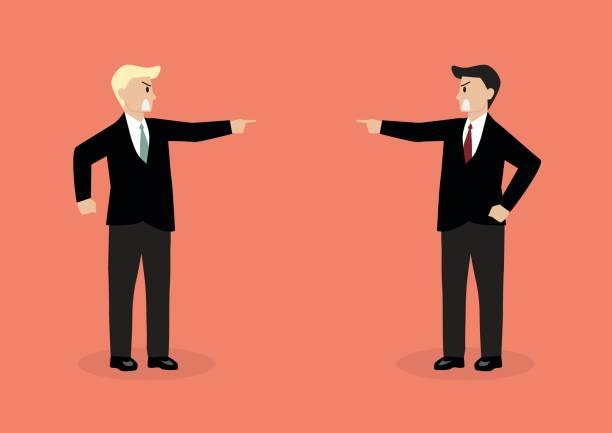 ilustrações, clipart, desenhos animados e ícones de two angry businessman are shouting on each other - político
