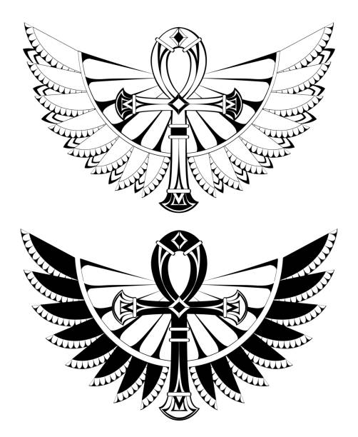 Two ankhs with wings vector art illustration