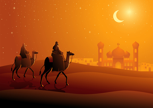 Two Arab men riding camels in the desert