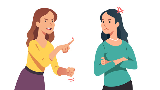 Two arguing women. Angry lady yelling, shaking clenched fist and pointing finger at annoyed disagreeing friend. Person losing temper in conflict. People argument. Flat vector character illustration