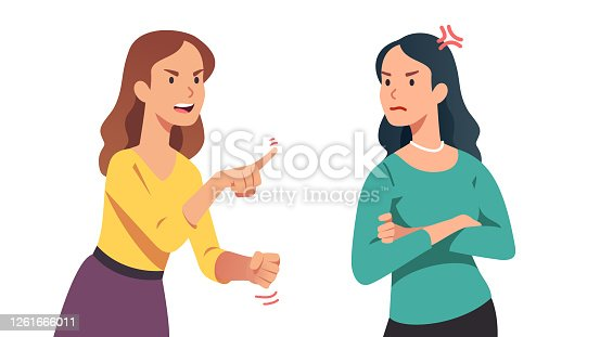 istock Two arguing women. Angry lady yelling, shaking clenched fist and pointing finger at annoyed disagreeing friend. Person losing temper in conflict. People argument. Flat vector character illustration 1261666011
