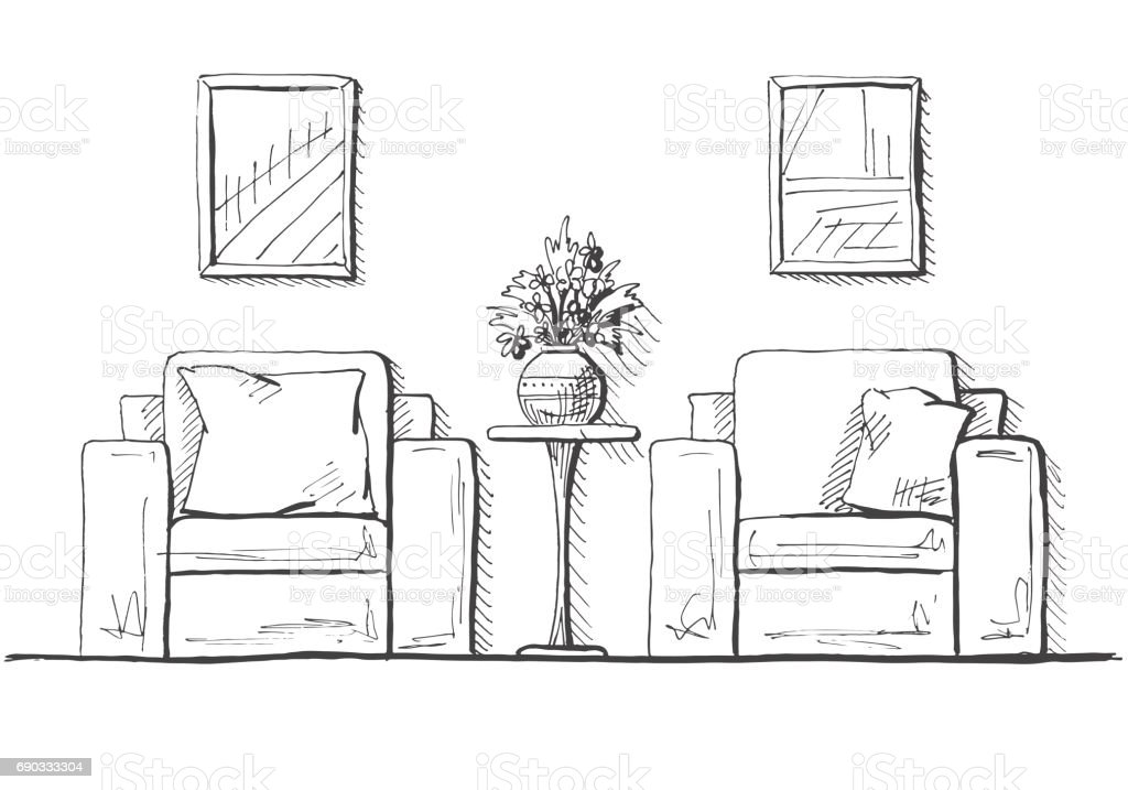 Two Armchairs And A High Table Vase With Flowers On The Table Hand