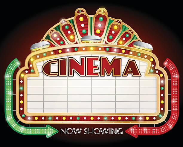 Two Arrow Cinema Sign vector art illustration
