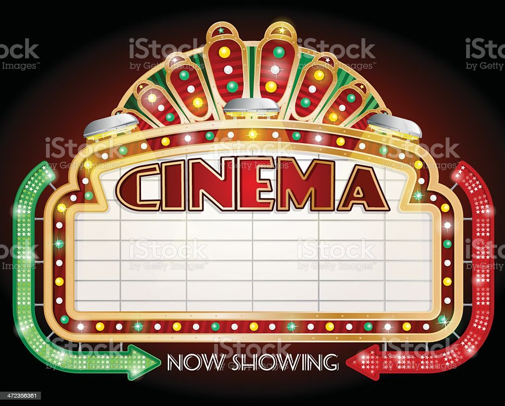 Two Arrow Cinema Sign vector art illustration