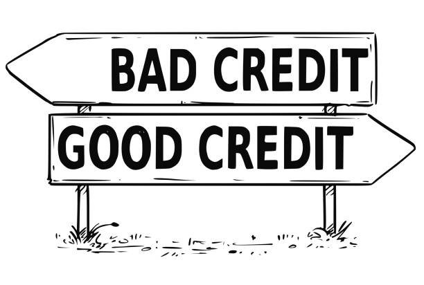 two arrow sign drawing of bad or good credit decision - credit score stock illustrations, clip art, cartoons, & icons