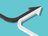 Isometric arrow formed by two merging black and white lines on turquoise blue. Partnership, merger, alliance and integration concept. Flat design. Vector illustration, no transparency, no gradients