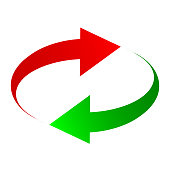 Two arrows: green and red – for stock