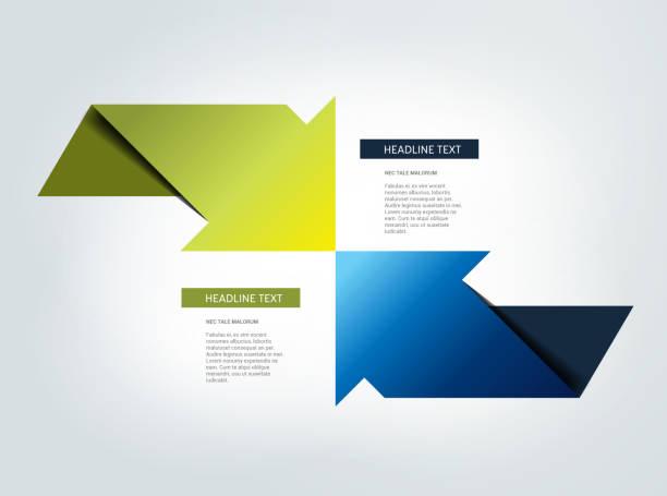 two arrows in opposite direction infographic, chart, scheme, diagram. - dwa przedmioty stock illustrations