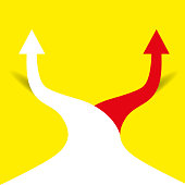 Two arrows pointing in different directions. Choice the way concept. Vector illustration in trendy style
