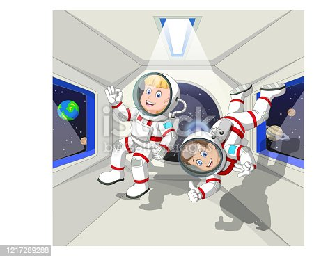 istock Two Astronauts in Zero Gravity Cabin Airplane Shuttle Cartoon 1217289288