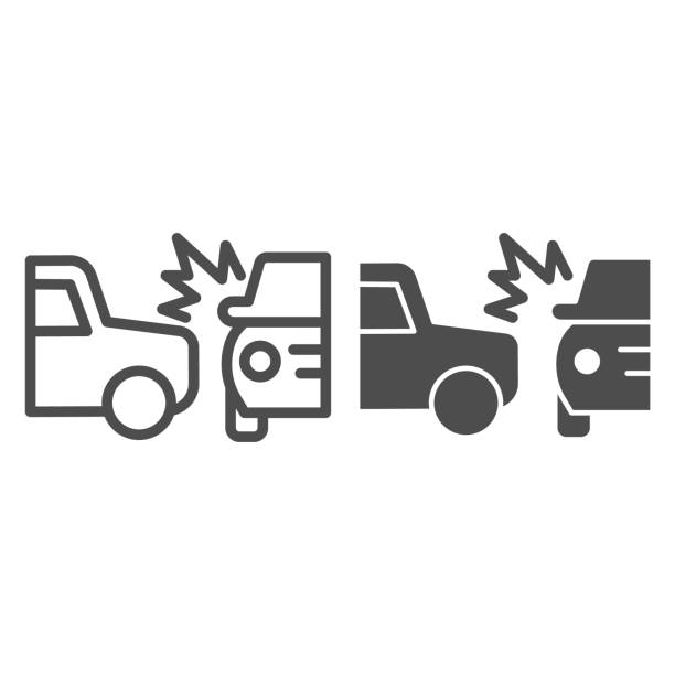 stockillustraties, clipart, cartoons en iconen met twee autowegneerstortingslijn en stevig pictogram. frontaal of zij drijfbotsingssymbool, pictogram van de overzichtsstijl op witte achtergrond. het teken van het autoongeval voor mobiel concept, webontwerp. vectorafbeeldingen. - gebroken bord