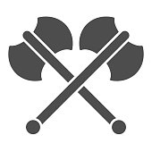 Two axes solid icon. Crossed double axe, battle item symbol, glyph style pictogram on white background. Warfare or military sign for mobile concept and web design. Vector graphics