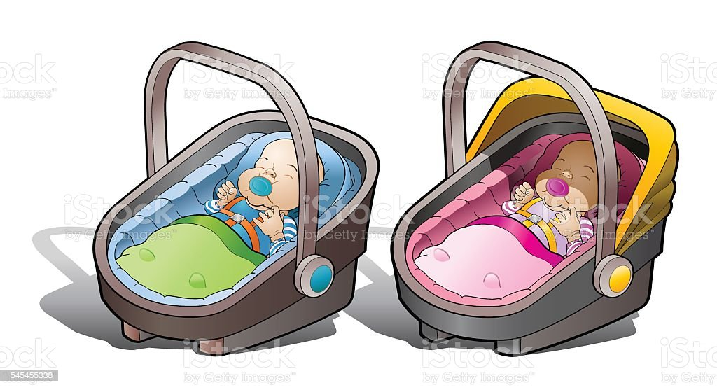 Two baby car seat vector art illustration