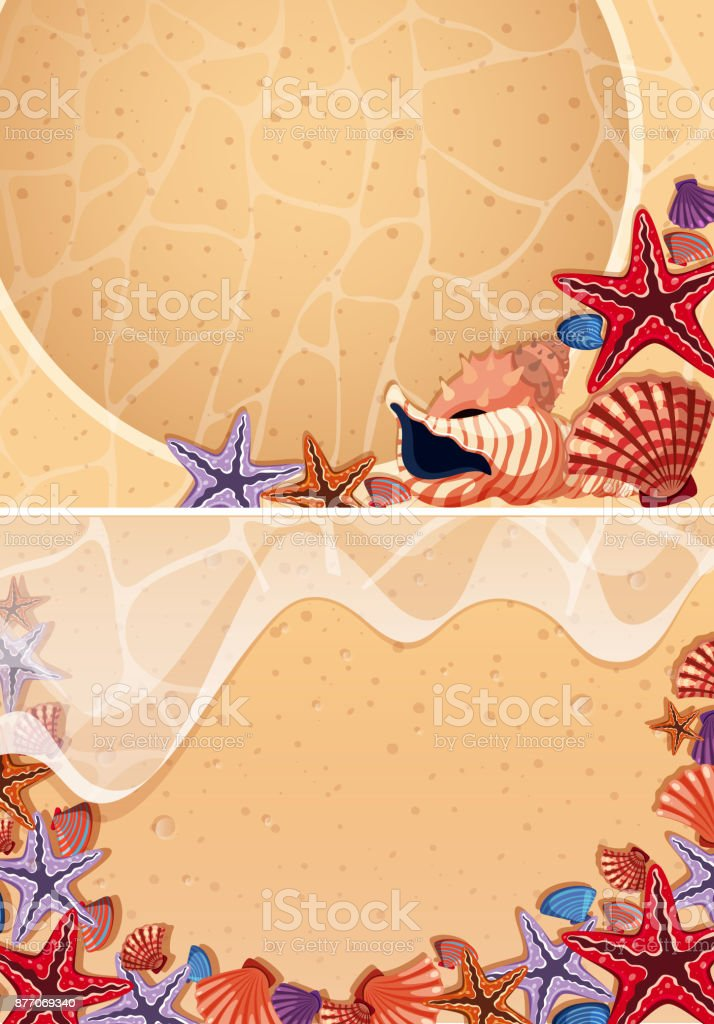 Two backgrounds with seashells on the beach vector art illustration