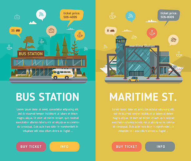 Two banners. Bus and Maritime station vector art illustration