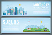 Two banners with City landscape and suburban landscape. Building architecture, cityscape town. Vector illustration