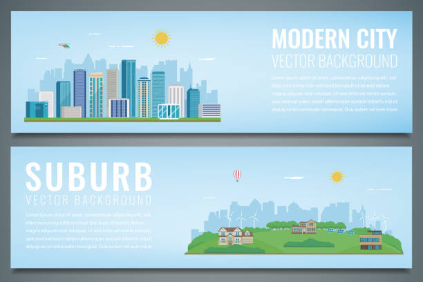 two banners with city landscape and suburban landscape. building architecture, cityscape town. vector - suburbs stock illustrations