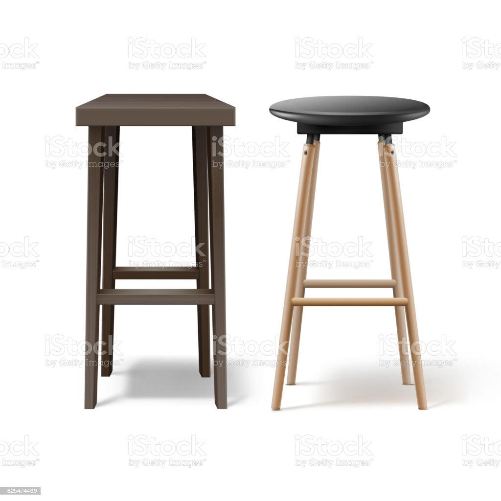 Two bar stools vector art illustration