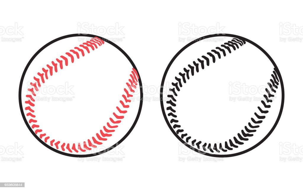 Two baseball balls on white background vector art illustration
