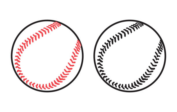 two baseball balls on white background - softball stock illustrations, clip art, cartoons, & icons