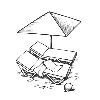 Two Beach Chair With Umbrella And Ball Ink Vector
