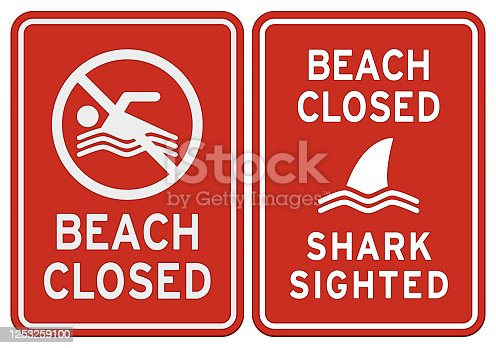 istock Two 'Beach closed' warning signs isolated on white 1253259100