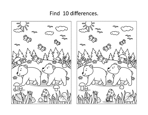 Two bear cubs find the differences picture puzzle and coloring page