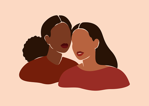 Two beautiful black women stand together. Strong African American girls side by side. Sisterhood and females friendship.