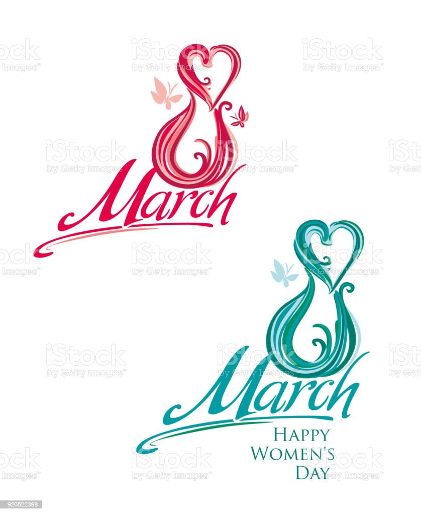 Two Beautiful Hand Written Templates 8 March Happy Womens