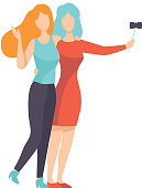 Two Beautiful Women Friends Making Self Photo, Female Friendship Vector Illustration on White Background