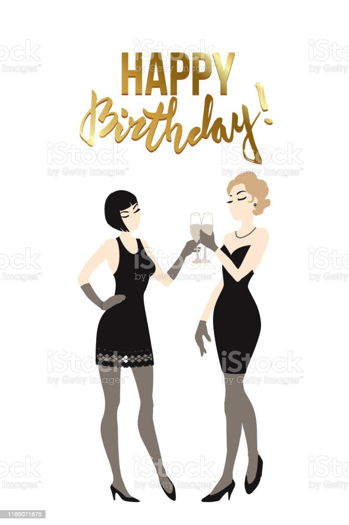 Two Beautiful Young Women Holding Champagne Glasses Twenties