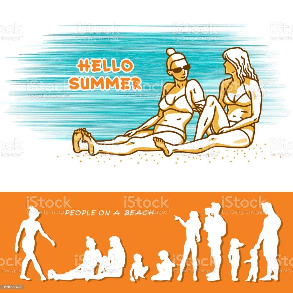 Deux belles jeunes femmes en bikini détendent assis et parler sur la plage de sable fin sur une journée ensoleillée. deux belles jeunes femmes en bikini détendent assis et parler sur la plage de sable fin sur une journée ensoleillée – cliparts vectoriels et plus d'images de adulte libre de droits