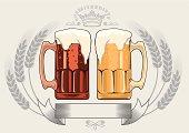 Dark & light beer, decorative design, layered vector artwork.