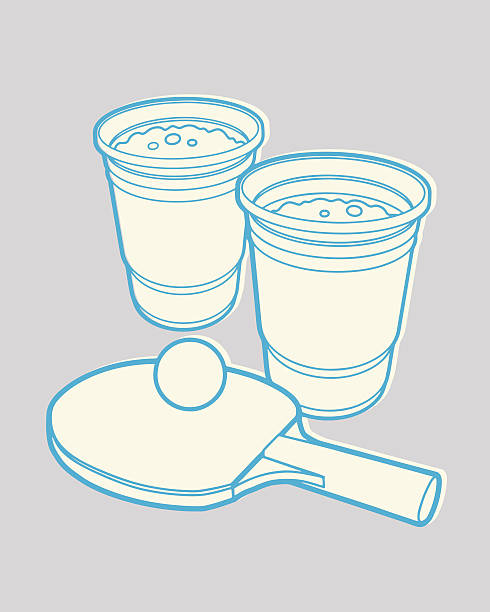 stockillustraties, clipart, cartoons en iconen met two beers and ping pong - beirut