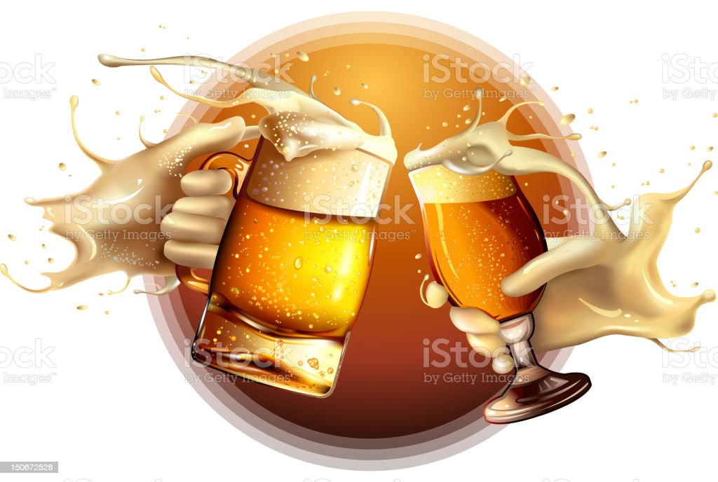 Two beers being toasted vector art illustration