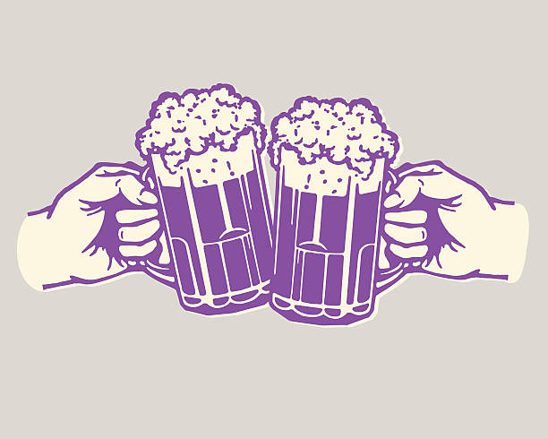 Two Beers Cheer vector art illustration