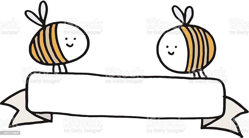 Zwei bees hält eine leere banner – Vektorgrafik