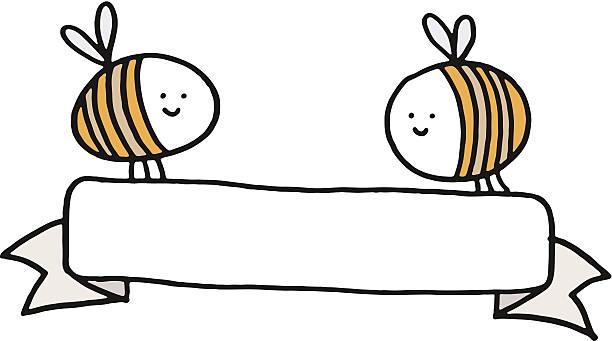 Two bees holding a long blank banner vektorkonstillustration