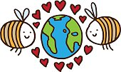 Two bees with love hearts around planet earth
