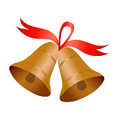 istock Two bells with red ribbon. Vector illustration, isolated on white. 858522976