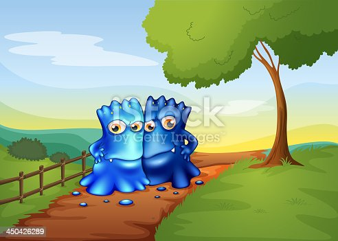 istock Two bestfriend monsters going to the farm 450426289
