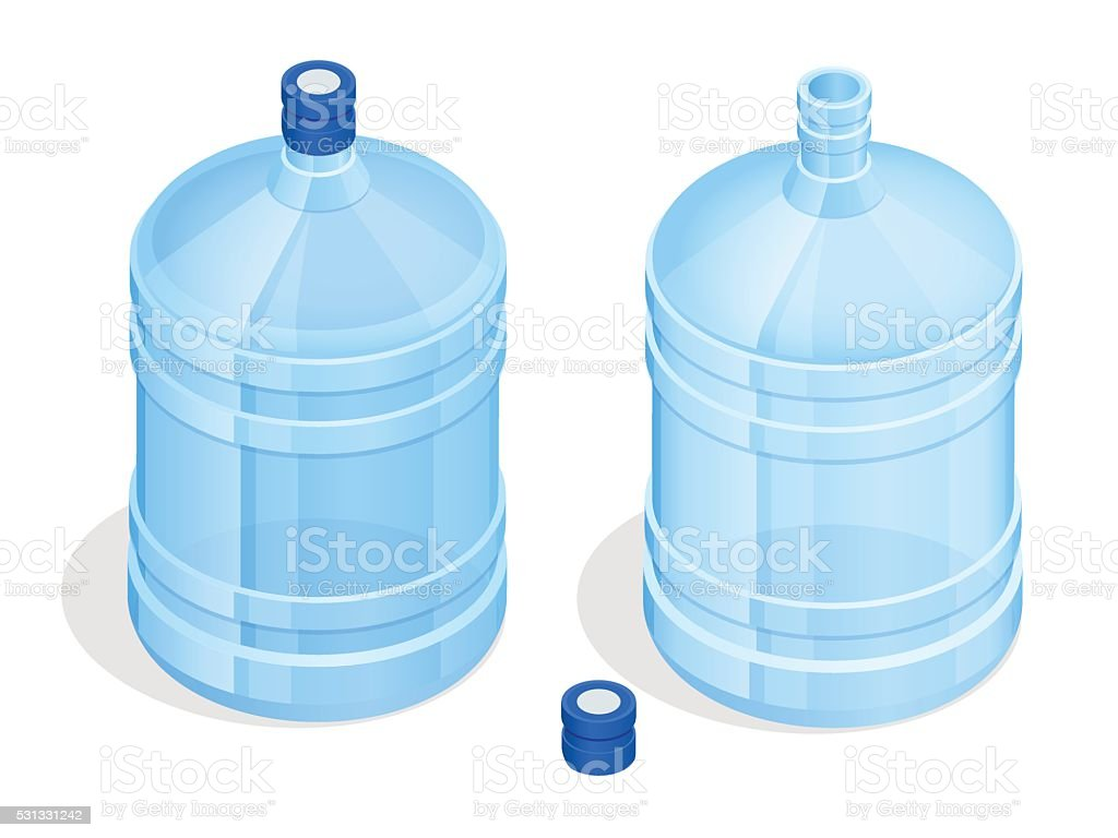 Two big bottles of water for delivery vector art illustration