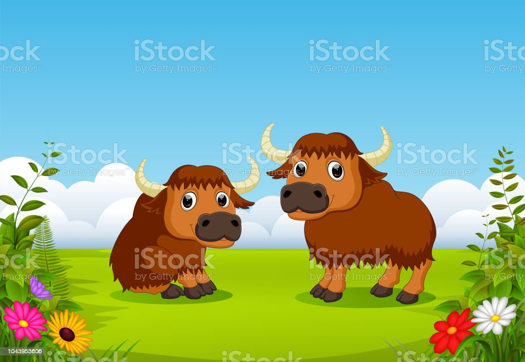 two big brown bison playing in the green field around the flowers vector art illustration