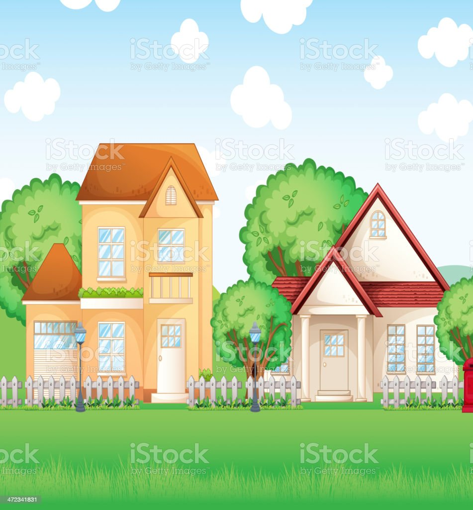 Two big houses royalty-free stock vector art
