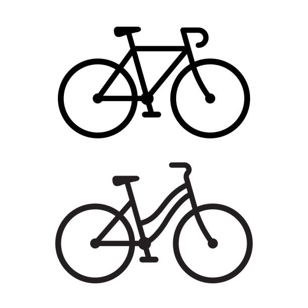 illustrazioni stock, clip art, cartoni animati e icone di tendenza di due icone della bici - ciclismo