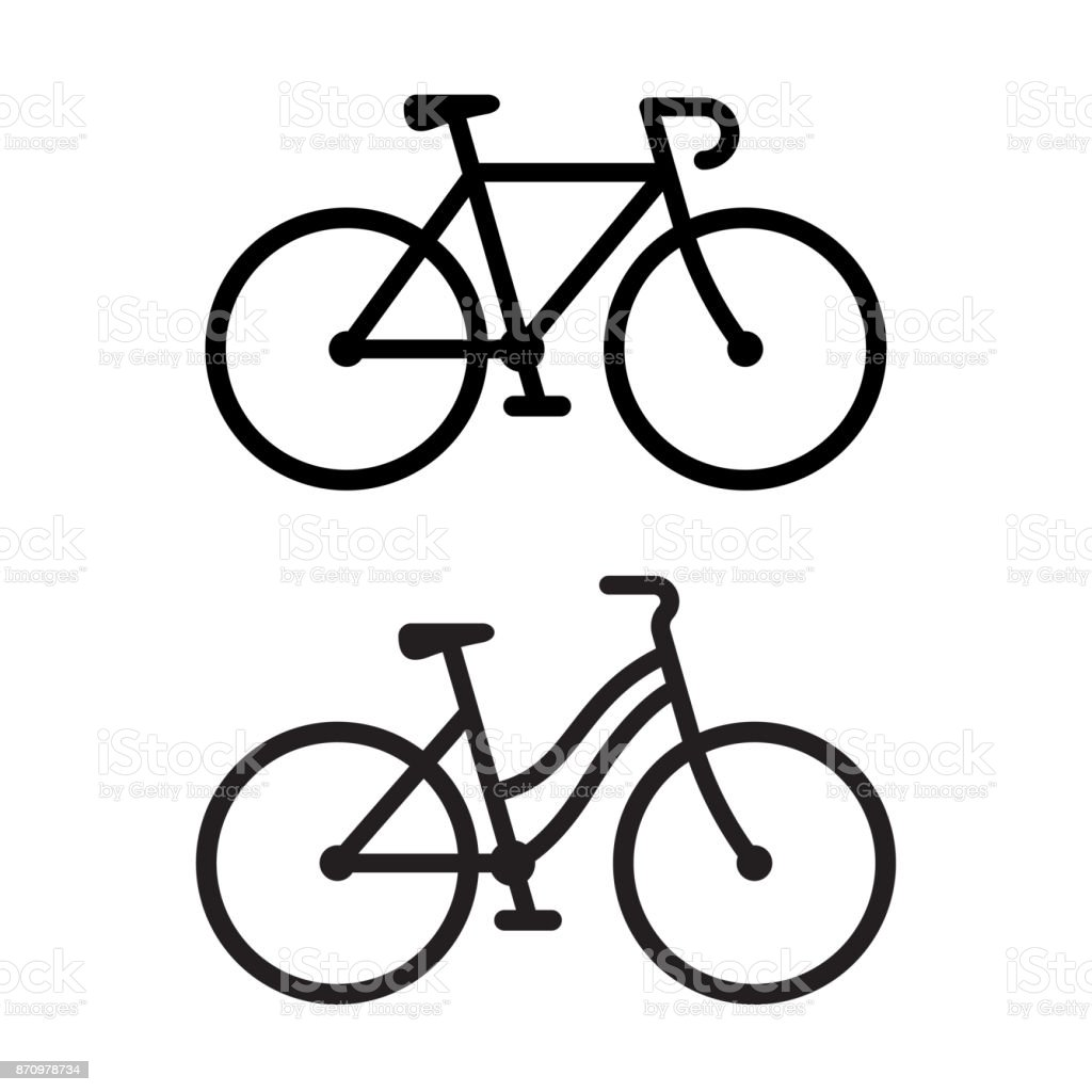 Two bike icons vector art illustration